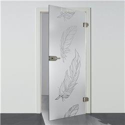 Ganzglastür / Drehtür aus ESG-Glas in Feder-Design invers für Studio Griff und Studio Bänder