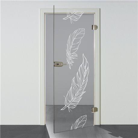 Ganzglastür / Drehtür aus ESG-Glas inFeder-Design für Studio Griff und Studio Bänder