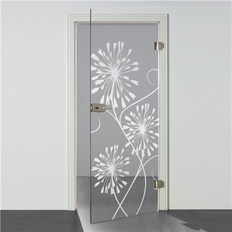 Ganzglastür / Drehtür aus ESG-Glas in 3-Blumen-Design invers für Studio Griff und Studio Bänder