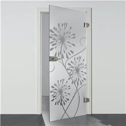 Ganzglastür / Drehtür aus ESG-Glas in 3-Blumen-Design für Studio Griff und Studio Bänder