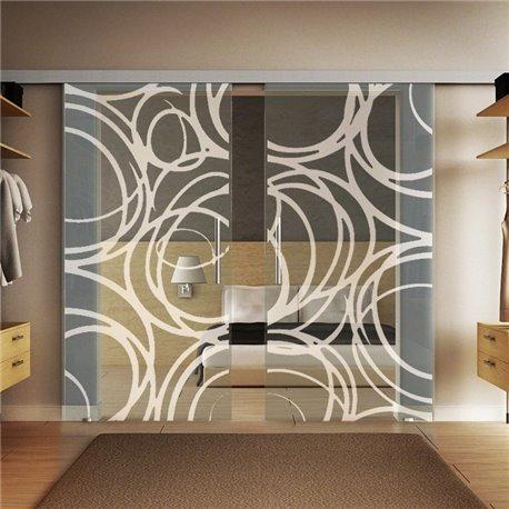 Glasschiebetür Design Kugelschreiber invers Basic-Beschlag Levidor / Glaslager.de 2 Scheiben