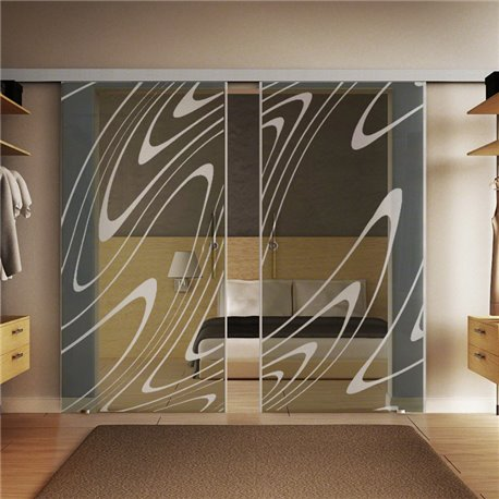 Glasschiebetür Design Wasser Basic-Beschlag Levidor / Glaslager.de 2 Scheiben