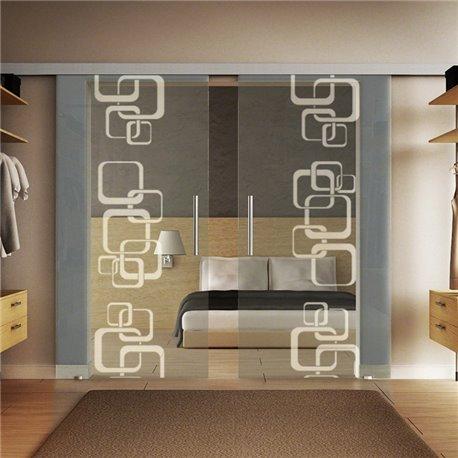 Glasschiebetür Design Ketten invers Basic-Beschlag Levidor / Glaslager.de 2 Scheiben