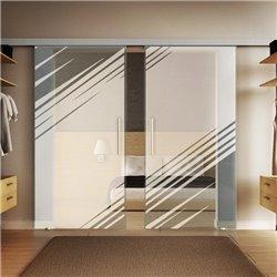 Glasschiebetür Design Stadt invers Basic-Beschlag Levidor / Glaslager.de 2 Scheiben
