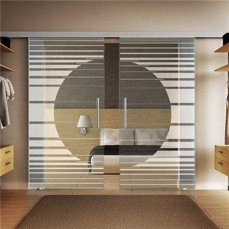 Glasschiebetür Design Orbit invers Basic-Beschlag Levidor / Glaslager.de 2 Scheiben
