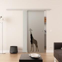 Dorma Agile 50 Glasschiebetür Giraffen-Design
