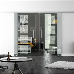 Levidor SoftClose-Schiebetür ProfiSlide Kurven-Design invers Zwei Glasscheiben