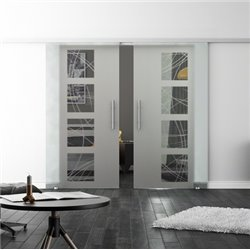 Levidor SoftClose-Schiebetür ProfiSlide Kurven-Design Zwei Glasscheiben