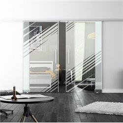 Levidor SoftClose-Schiebetür ProfiSlide Stadt-Design invers Zwei Glasscheiben
