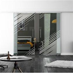 Levidor SoftClose-Schiebetür ProfiSlide Stadt-Design Zwei Glasscheiben