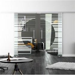 Levidor SoftClose-Schiebetür ProfiSlide Orbit-Design invers Zwei Glasscheiben