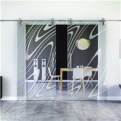 Wasser-Design Glasschiebetür Edelstahlbeschlag mit offenen Laufrollen LEVIDOR - 2 Scheiben