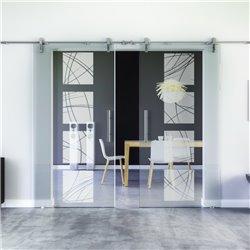 Kurven-Design invers Glasschiebetür Edelstahlbeschlag mit offenen Laufrollen LEVIDOR - 2 Scheiben