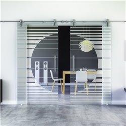 Orbit-Design invers Glasschiebetür Edelstahlbeschlag mit offenen Laufrollen LEVIDOR - 2 Scheiben