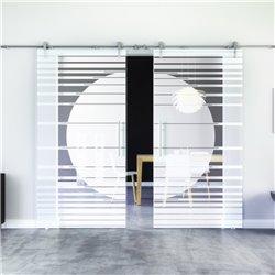 Orbit-Design Glasschiebetür Edelstahlbeschlag mit offenen Laufrollen LEVIDOR - 2 Scheiben