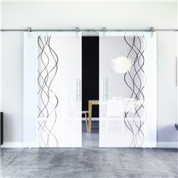 Rauch-Design Glasschiebetür Edelstahlbeschlag mit offenen Laufrollen LEVIDOR - 2 Scheiben