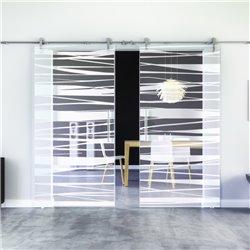 Stufen-Design Glasschiebetür Edelstahlbeschlag mit offenen Laufrollen LEVIDOR - 2 Scheiben