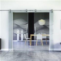 Luft-Design invers Glasschiebetür Edelstahlbeschlag mit offenen Laufrollen LEVIDOR - 2 Scheiben