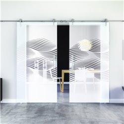 Luft-Design Glasschiebetür Edelstahlbeschlag mit offenen Laufrollen LEVIDOR - 2 Scheiben