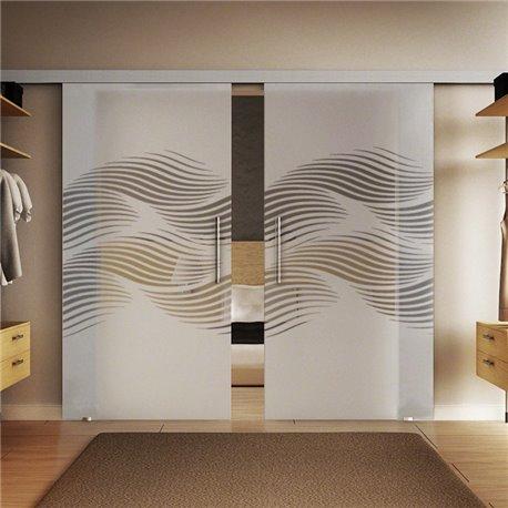 Glasschiebetür Design Luft Basic-Beschlag Levidor / Glaslager.de 2 Scheiben