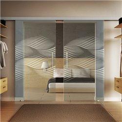 Glasschiebetür Design Luft invers Basic-Beschlag Levidor / Glaslager.de 2 Scheiben