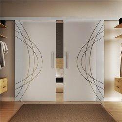 Glasschiebetür Modern-Design Ellipsen Basic-Beschlag Levidor / Glaslager.de 2 Scheiben