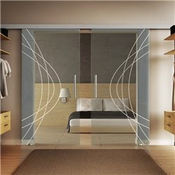 Glasschiebetür Modern-Design Ellipsen invers Basic-Beschlag Levidor / Glaslager.de 2 Scheiben