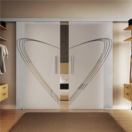 Glasschiebetür Modern-Design Speed Basic-Beschlag Levidor / Glaslager.de 2 Scheiben
