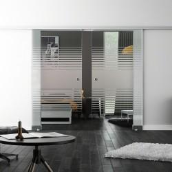 Levidor SoftClose-Schiebetür ProfiSlide Lamellen-Design (L) 2 Glasscheiben