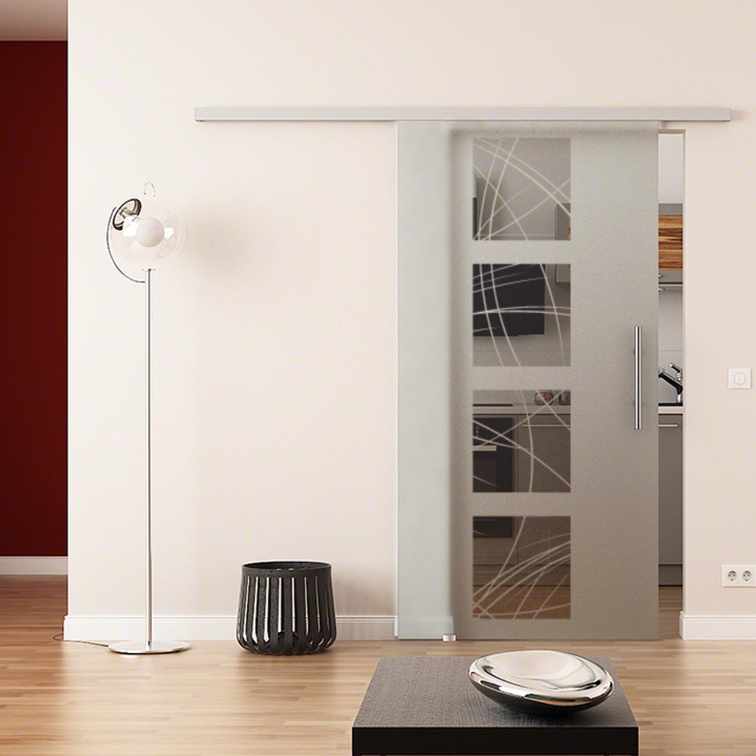 Levidor/® EasySlide-System komplett Laufschiene und Muschelgriffen f/ür Innenbereich/ ESG-Sicherheitsglas Made in Germany SoftClose Schiebet/ür aus Glas 1025x2050 mm/ Wellen-Design A
